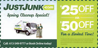 Save on Your Next Junk Removal $25/$50 OFF with JUSTJUNK.COM
