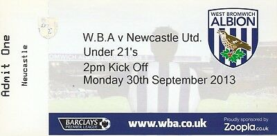 Ticket - West Bromwich Albion U21 v Newcastle United U21 30.09.13