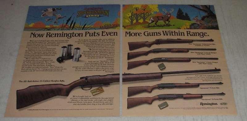 1986 Remington Ad - 581 Rifle; Sportsman 78 Rifle; Sportsman 12 Pump Shotgun