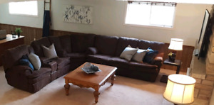 Brown microfiber sectional and table $200