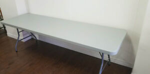 """Staples Banquet Table with Folding Legs, 96"""", Light Grey"""