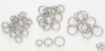 "10 Steel Captive Rings CBR 16g 5/16"" Tragus Hoop 5 Pair"