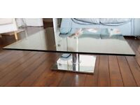 John Lewis Clear Glass & Chrome Square Coffee Table FREE DELIVERY 771
