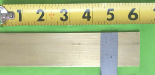 "1/8"" x 1  1/2""  BRASS Solid Flat Bar 6"" long  (1 Piece) C360  Free Machining"