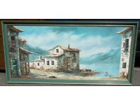 Large Framed Painting On Canvas Of A Mediterranean Cottage