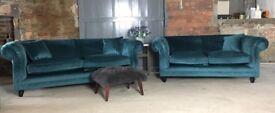 NEW Teal Velvet 3 Seater Sofa, Can Deliver