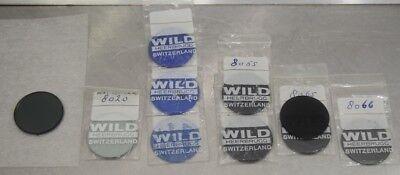 Set Of 33mm Wild Heerbrugg M20 Microscope Filter Pol Blue Grey Heat Absorbing