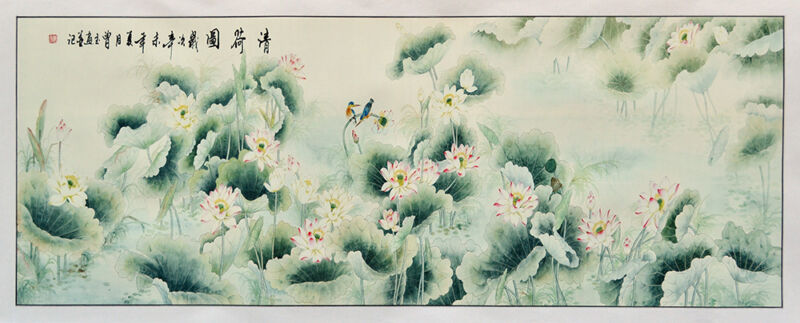 "LOTUS POND BIG 62"" BROCADE ORIENT DECOR CHINESE PAINTING WATERCOLOR SILKPRINT ="