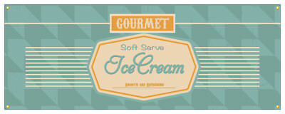 Soft Serve Ice Cream 03 Banner Ice Cream Cold Concession Stand Sign 18x48