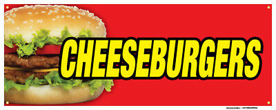 Cheeseburgers Banners Hamburger Buns Mustard Mayo Concession Stand Sign 24x72
