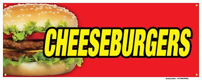 Cheeseburgers Banners Hamburger Buns Mustard Mayo Concession Stand Sign 24x72