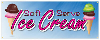Soft Serve Ice Cream 01 Banner Refreshing Flavors Concession Stand Sign 18x48