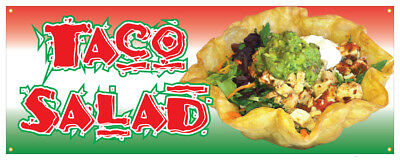 Mexican Taco Salad (Taco Salad Banner Mexican Food Pork Chicken Concession Stand Sign 48x120 )
