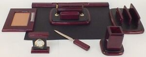 Majestic Goods Nine Piece Burgundy Oak Wood Desk Set