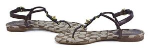 COACH Robyn Thong Leather Sandal A0319 BLACK CHESTNUT KHAKI Sz 6 7 8 9 10 11 NIB
