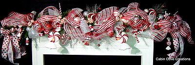 Winning Treat Mantel Garland Christmas decorated prelit red white Candylan