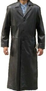 Mens-Black-Long-full-length-trench-mac-soft-leather-coat-jacket-42-Chest-Large