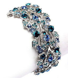 Vintage Inspired Estate Teal & Aquamarine Crystal Bracelet  (Sparkle-407)