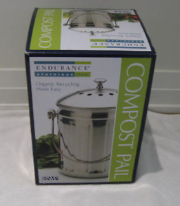 New RSVP Endurance Stainless Steel Compost Pail-1 gal. capacity