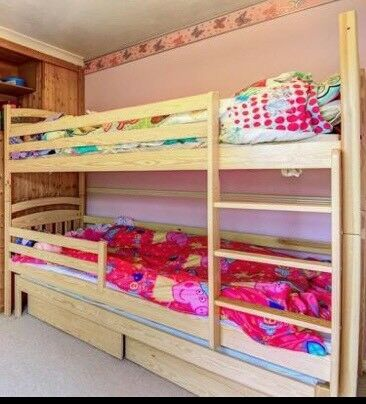 Triple Bunk Bed With Off The Floor Trundle Guest Bed 3 Mattresses