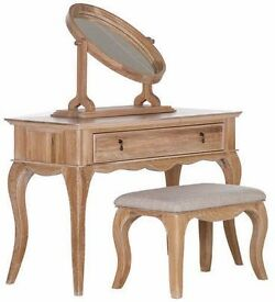SCHREIBER BURLESTON OAK DRESSING TABLE WITH MIRROR AND STOOL