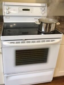 White Glass Top Stove