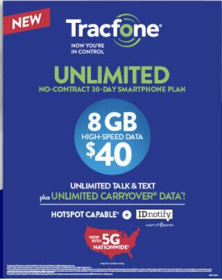 Tracfone 8GB Data Unlimited talk & text 30days