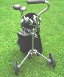 LEFT HAND SET OF TEN CLUBS, BAG AND GOLF CART