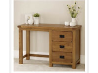 Solid oak dressing table and chair