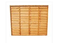 2 of WOODEN LAP FENCE PANELS TREATED TIMBER 1.2M X 1.8M (4FT X 6FT)