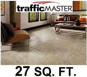 "NEW VINYL TILE FLOORING 27 SQ. FT. TRAFFICMASTER 12 TILES PER CASE 18""x18"" SELF-STICK 4 MIL WEAR LAYER - STONE LOOK"
