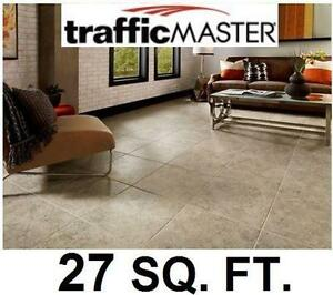 "NEW VINYL TILE FLOORING 27 SQ. FT. - 96921152 - TRAFFICMASTER 12 TILES PER CASE 18""x18"" SELF-STICK 4 MIL WEAR LAYER -..."