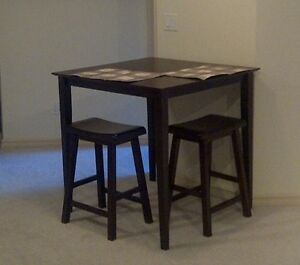 5pc Square Counter Height Pub Table Set W/ 4 Saddle Seat Stools