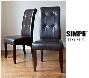 NEW: Simpli Home-Cosmopolitan Deluxe Tufted Parson Chair 2 Pack