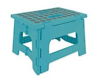 Home Essentials Foldable Step Stool Holds up to 300 lb Teal