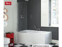 NEW!! P- Shaped Shower Bath 1700mm Bath & Stand LH (Mod) with glass shower screen / side
