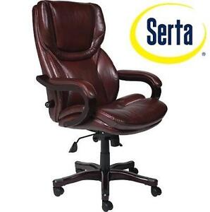 NEW SERTA BIG  TALL LEATHER CHAIR BROWN, EXECUTIVE COMPUTER AND DESK CHAIR, BONDED LEATHER 105891364