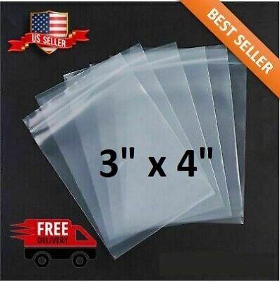 3x 4 Clear 2 Mil Zip Lock Bags Poly Plastic Reclosable Seal Mini Small Baggies