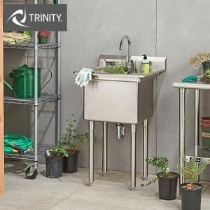 """NEW TRINITY SS UTILITY SINK TS0301 188797925 STAINLESS STEEL 18""""Lx16""""Wx13""""D"""