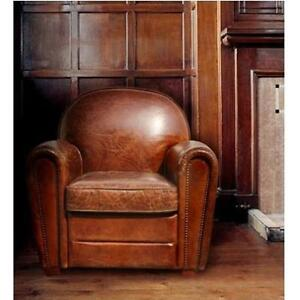 NEW PASARGAD LEATHER ARMCHAIR Chair-2038 146298048 GENUINE PARIS BROWN