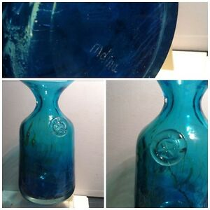 LARGE BLUE MDINA SIGNED GLASS BOWL ART GLASS VASE MALTA MICHAEL