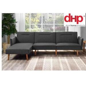 NEW DOREL SECTIONAL FUTON 150245685 DHL REVERSIBLE GREY LINEN