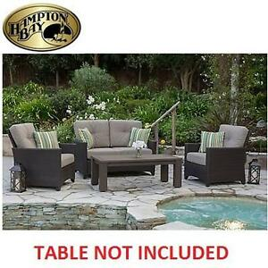 NEW HAMPTON BAY DEEP SEATING SET 3 PIECE - LOVESEAT AND 2 CHAIRS WITH CUSHIONS 110823046
