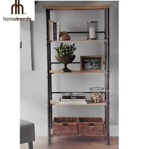 NEW HOMETRENDS 5 TIER BOOKCASE RUSTY OAK AND BLACK - RECLAIMED METAL FRAME 106775821