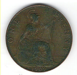 Coin 1909 Great Britain 1  Penny Kingston Kingston Area image 2