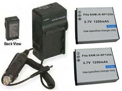 Two 2 Batteries + Charger For Samsung Hmx-q130pn Hmx-q130bp Hmx-t10wn Hmx-t10bn