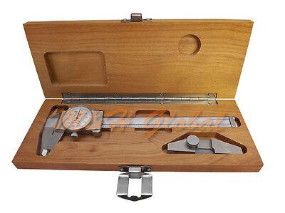 6 Shockproof Dial Caliper T-bar Ruler .001 Grad Carbide Jaw Ruler Measure