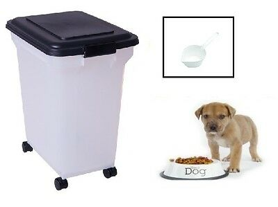 Pet Food Storage Container Cat Dog Box Large Black 45L 15kg Bin Wheels Scoop New