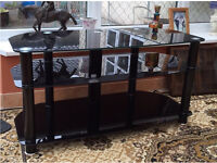 TV STAND BLACK TOUGHENED GLASS