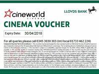 4 x £8 Cineworld cinema ticket vouchers